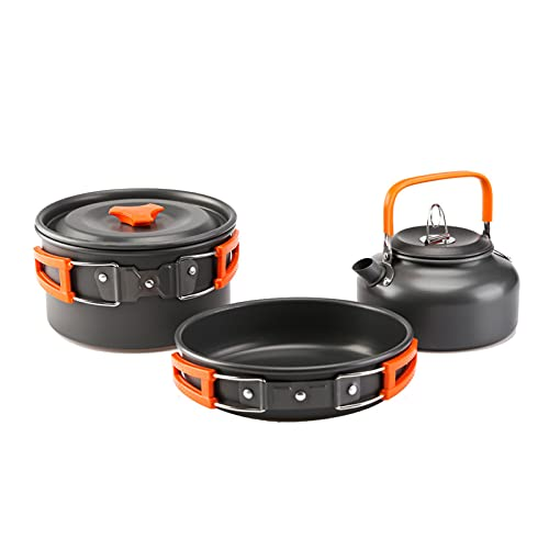 GAOHONGMEI Cocina Cocina Kit Kit Combinación, 2-3 Personas, Pan Parrilla Al Aireor Portátil Tetera Tetera para Picnic Trekking y Senderismo Orange-One Size