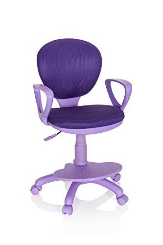 hjh OFFICE 671009 Kinderdrehstuhl Kid Colour Stoff Lila Schreibtischstuhl Kinder, Fußablage & Sitzfläche höhenverstellbar, 95 x 53 x 51 cm