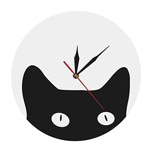 yage Reloj de pared clásico con diseño de gato negro, reloj de pared, reloj redondo, reloj de pared de cuarzo, idea de regalo para el propietario de gato, adecuado para sala de estar, dormitorio