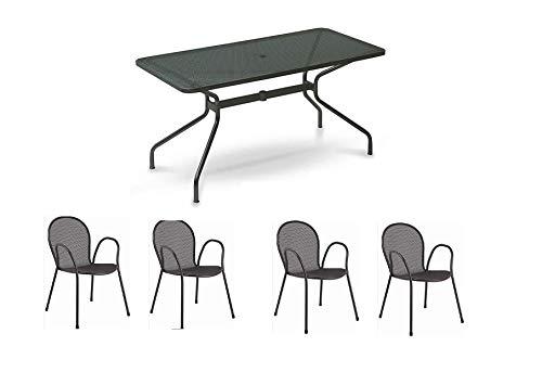 Emu table pour extérieur Changes 140 x 80 cm en fer zingué et verni à poussières – Couleur fer ancien fantaisie 22 + 4 fauteuils modèle ronda avec accoudoir – Produit fabriqué en Italie