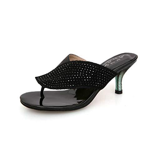 BZBZBZ Zapatos de 7,5 cm Tacón bajo de Aguja Flip Flop Bomba Mujeres Clip del Dedo del pie OL Diamantes de imitación de Tenis de tamaño 34-41 EU,Negro,EU35