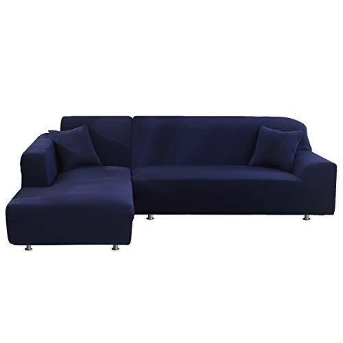 HUAFA Sofa Überwürfe 2 Stück Elastische Stretch Sofabezüge für L-Form Sofa Abdeckung Sofabezüge aus Polyestergewebe 3 Sitzer +3 Sitzer mit 2 Stück Kissenbezügen (Dunkelblau)