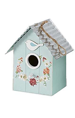 CasaJame Hogar Accesorios Decoración Jardín Casa para Pájaros Azul Claro con Decoración Floral 15x12x22cm