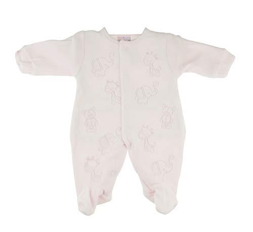 Glamour Girlz Grenouillère tout en un en velours doux pour bébé fille Motif éléphant Girafe Rose (Early Baby 45)