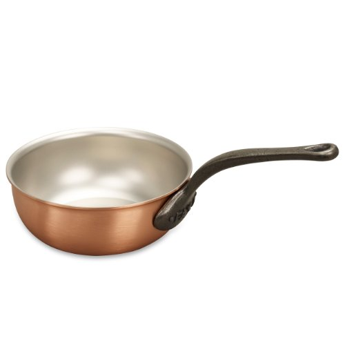 Falk Culinair 18cm Copper Saucier with cast iron handle and stainless steel interior - 1.33 litres