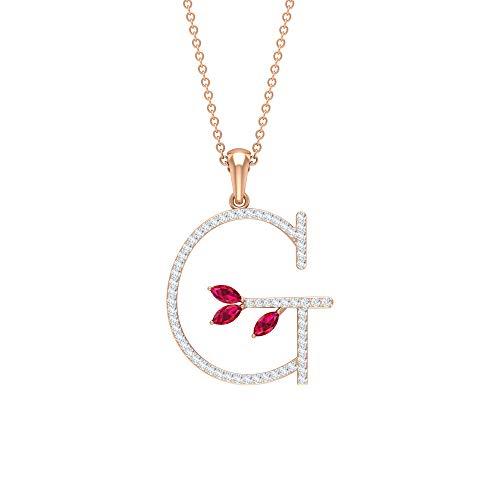 Custom Diamond Letter G Pendant, 3/4 CT Pave Diamond Gold Initial Alphabet Pendant, Lab Created Ruby Gemstone Pendant, Women Birthstone Charm Pendant,10K Rose Gold With Chain