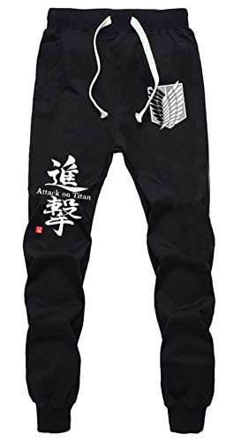 Gumstyle Attack on Titan AOT - Pantalones de chándal con cintura elástica para cosplay - Negro - L