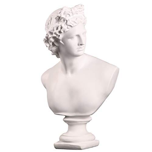 Homoyoyo David Busto Estatua Resina Greco Romano Bocetos Figuras Resina Retrato Escultura Réplica Busto Estatua Hogar Mesa Decoración (Blanco)