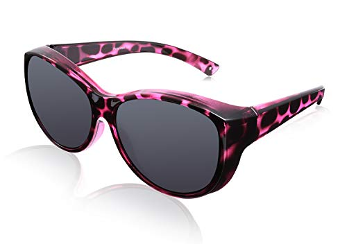 Br'Guras Polarized Oversized Fit over Sunglasses Wear over Prescription with Purple Leopard Frame for Women&Men (Purple leopard, Black)