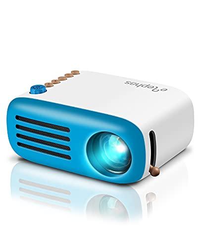 Elephas Mini Beamer Support 1080P Portabel Mini Projektor Kompatibel mit TV Stick, Smartphone, PC, Laptop, PS4, USB, VGA, TF, AV, Geschenk für Kinder
