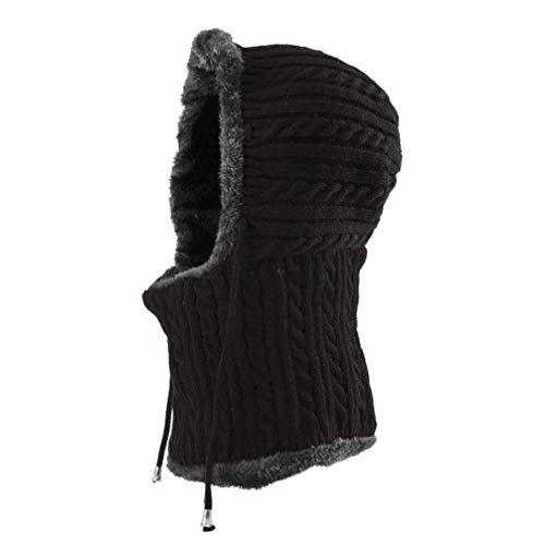 BESPORTBLE Winter warme Mütze Nackenwärmer Ski Schnee Kapuzenschal Mütze gestrickte verdickte Mützen für Frauen Männer (schwarz)