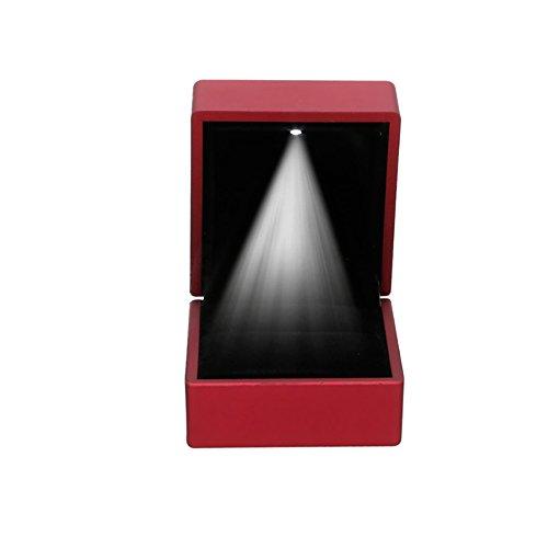kanstore romántico LED iluminado pendientes anillo caja de regalo boda anillo de compromiso joyas pantalla caja (rojo)