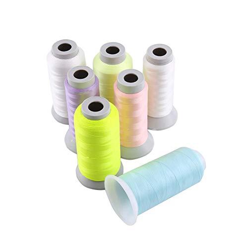 Hilo de coser-Carrete Resplandor en la oscuridad Máquina de bordar a mano Hilo de coser(3000码-Amarillo fluorescente)