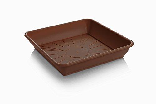 Sottovaso quadrato, in plastica, colore: marrone