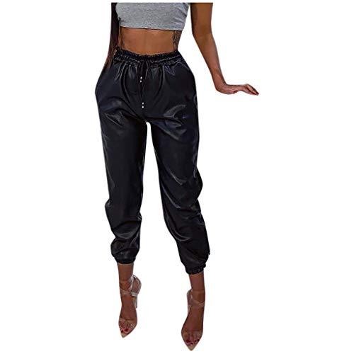 AmyGline Leder Hose Damen Kunstleder Hippie Hosen Streetwear High Waist Elastisch Drawstring Lederhose Freizeithose Sporthose Hiphop Hose