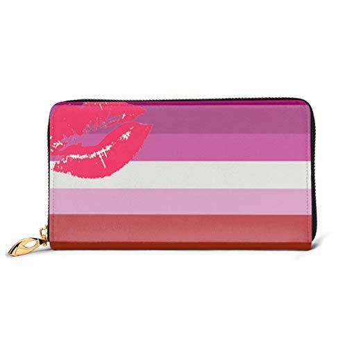 Lipstick Lesbian Pride Flag Fashion Women Leather Wallets Zipper Clutch Purse