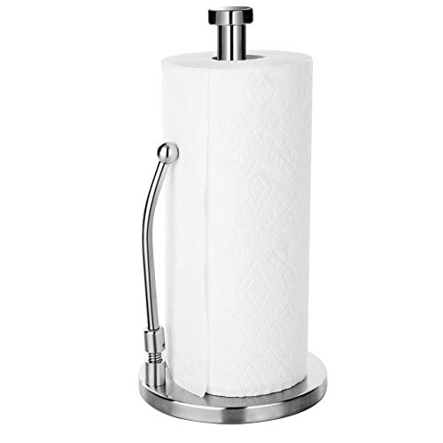 Paper Towel Holder, Stainless Steel Paper Towel Holder Stand Roll Dispenser for Kitchen Countertop Bathroom