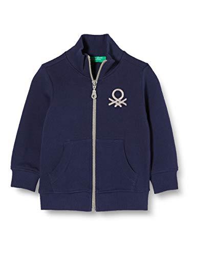 United Colors of Benetton Baby-Jungen Felpa Zip Strickjacke, Blau (Peacoat 252), 80/86 (Herstellergröße: 1y)