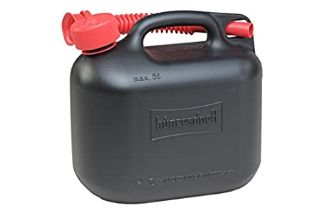 Hünersdorff Bidón para carburante STANDARD 5L, PEAD Negro, con homologación UN, accesorios rojos