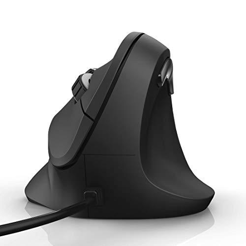 Hama ergonomische Maus (Vertikale Maus kabelgebunden für Rechtshänder, 3 Geschwindigkeitsstufen bis 1800dpi, gegen Tennisarm, Mausarm, RSI-Syndrom) schwarz