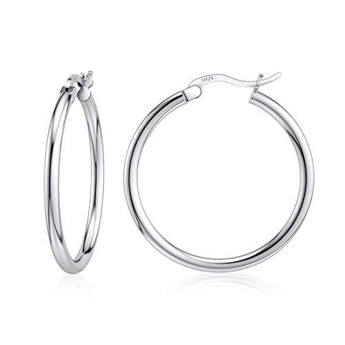 Kleine Creolen, Sterling Silber Creolen in Silber Weihnachtsgeschenk für Frauen Mädchen 25mm