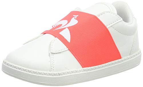 Le Coq Sportif Jungen Unisex Kinder COURTSTAR INF Strap Optical White Sneaker, Weißes optisches Fiery Coral, 25 EU