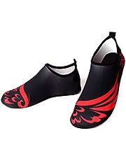 Bestgift Men's Women's Quick-Dry Non-slip Swimming Beach Shoes Black+Wing 40-41