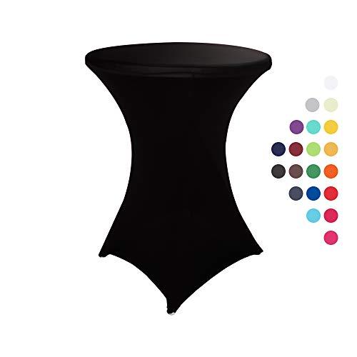 HAORUI Stretch Stehtischhussen, Elastische Tischdecken, Spandex Hussen für Rund, Cocktail Bistrotisch und Dekoration für Hochzeiten, Feiern(80cm Schwarz)