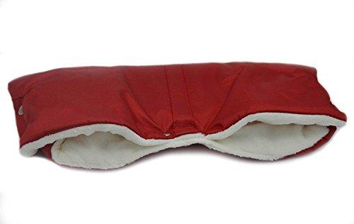 Leo & Emma Qualitäts Kinderwagenhandschuhe Universalgröße-Baby-Kinderwagen Buggy Handwärmer extra dick (Rot)