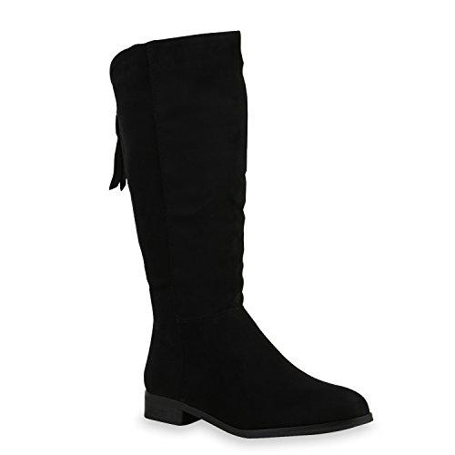 Damen Stiefel Flache Boots Winterstiefel Schuhe 125920 Schwarz 38 Flandell