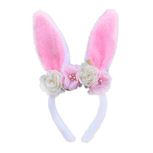 Disfraz de conejito esponjoso odo diadema para el pelo de Pascua para adultos lindos con broche de pelo de conejo, diadema para el hogar adornos para el cabello