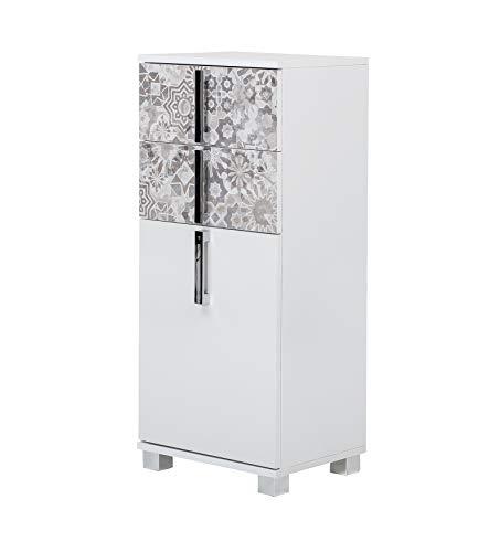 Schildmeyer Luca 139155 Meuble de Salle de Bain Commode Blanc Brillant/Gris Mexique 40,3 x 32,0 x 94,8 cm