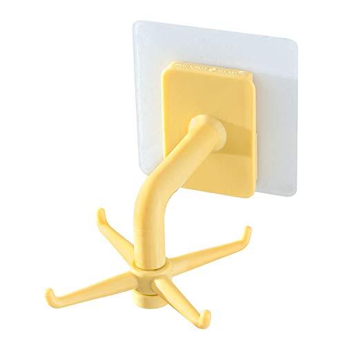 Ganchos de cocina giratorios adhesivos para pared, puerta o ropa (amarillo)