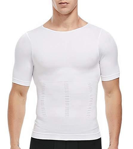 SLIMBELLE Bauchweg Shirt Herren Shapewear Body Shaper Figurformende Unterhemd Kompressionsshirt Taillenformer Slimming Top mit Ärmeln für Männer in weiß o. schwarz