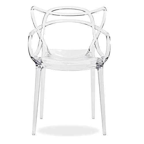 Sedia moderna Trasparente, Set da 4 pz impilabili in Policarbonato Design moderno Uffico ristorante esterno Interno