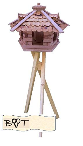 Vogelhaus -Holz Nistkästen & Vogelhäuser- aus Holz, Design Vogelvilla natur hell SG40ngMS geflammt mit Ständer