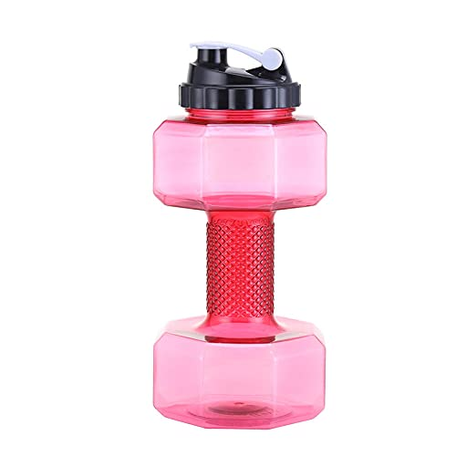 Yidieman Botella Deportiva,Botella de Agua con Mancuernas para Fitness Portable-Red_1000ML,Sin BPA con Pajita para gimnasi,hogar,Oficina,Actividades al Aire Libre