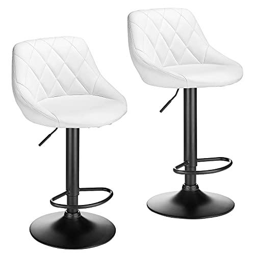 BlueOcean Furniture - Juego de 2 taburetes de bar de piel sintética para desayuno, silla giratoria con reposapiés y respaldos, herramienta para barra de cocina, barra de bar, cocina y hogar
