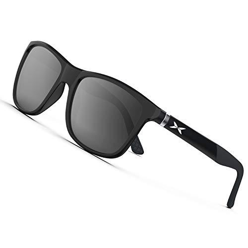 PAERDE Mens Sports Polarized Sunglasses for Golf Fishing Driving Lightweight Sun Glasses (Gray&Black Lens 02)
