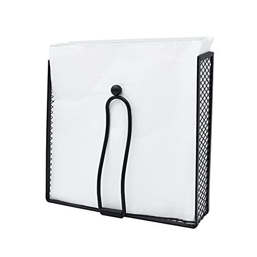 FGC Portatovaglioli Nero con Barra Fermatovaglioli, Porta Tovaglioli di Carta Quadrato 15x15x5 cm in Metallo, per Tavolo di Cucina, Ristorante e Bar