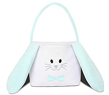 THOVSMOON Cute Bunny Easter Bucket Hippity Rabbit Blue/Pink White Personalized Easter Basket Bag with Fluffy Ears for Kids Carrying Gift and Eggs Hunt Bag Fluffy Ears  Blue