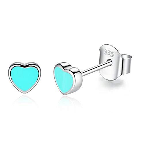 Gold Gala Pendientes pequeños de Plata de ley 925 para Mujeres y Niña (Corazón Turquesa)