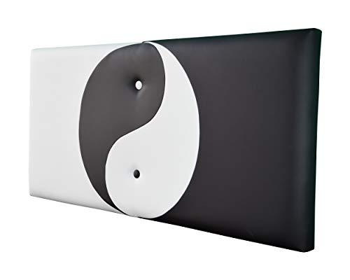 ONEK-DECCO Cabecero de Cama Mod.Ying Yang tapizado en Polipiel,Acolchado de Espuma Varias Medidas y Colores,Cabezal niños, Juvenil y Cama Matrimonio (135x70, Blanco-Negro)