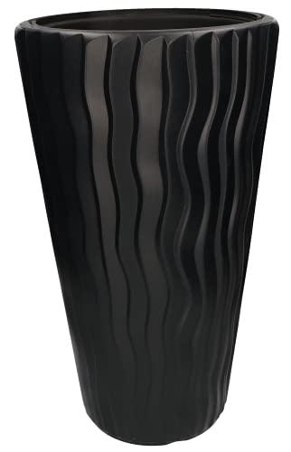 KOTARBAU® Maceta de 30 x 52 cm, color antracita, fina y alta, efecto 3D, con maceta interior