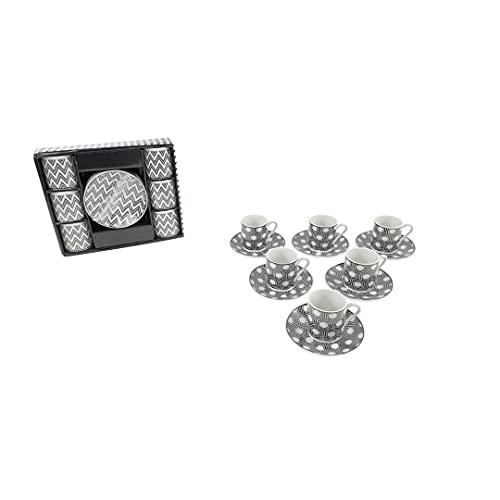 juego de tazas de cafe con plato y ceramica decorado - juego moderno de cafe -Set de Regalo de Set de Café Tazas Para Espresso, Café Solo, Cortado