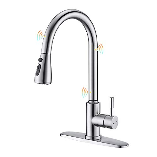 ARRISEA Touchless Kitchen Sink Faucet with Pull Down Sprayer,Brushed Nickel Stainless Steel Touch on Kitchen Faucets with Three Water Flow Modes Sprayer