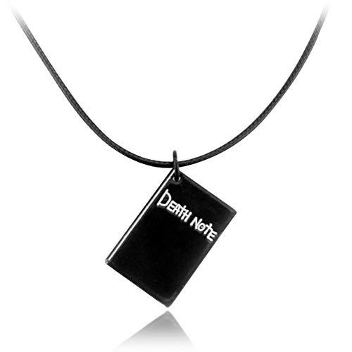 Collar de Death Note, Cuaderno Negro, Colgante, Cuerda de Cuero, artículos de joyería