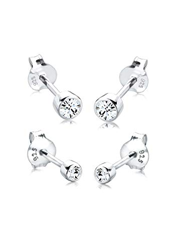 Elli Ohrringe Damen Set Basic mit Kristalle in 925 Sterling Silber