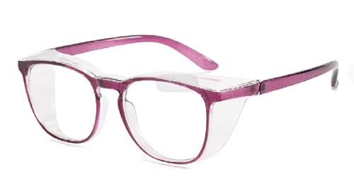 WWYCDD Gafas de protección diarias, gafas de seguridad antivaho con luz azul y antiultravioleta, gafas de seguridad transparentes para hombres y mujeres (espejo transparente con marco rosado)