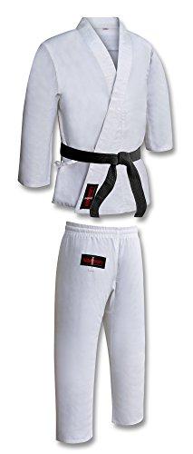 Vader Sports Karateanzug für Erwachsene, weiß, Uniform, Poly/Baumwolle, Gi inklusive Gürtel, M/W, sanforisiert, Karate-Kimono, weißer Karate-Gi, Karate-Kata-Anzug (5/180 cm groß)